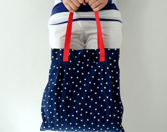 Navy Blue Red Polka Dot  Shoulder Bag, Hobo bag , diaper bag, weekender bag, large  tote