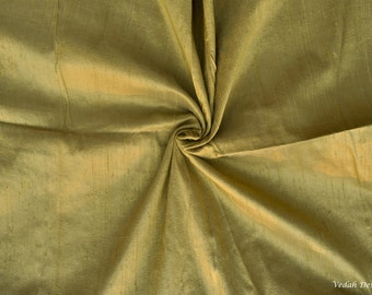 Iridescent green pure dupioni silk fabric Indian fabric by the yard
