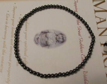 Natural Hematite Anklet - Non Magnetic -  Therapeutic Quality Gemstone  4mm