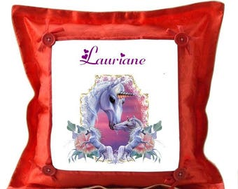 Red Unicorn pillow personalized with name