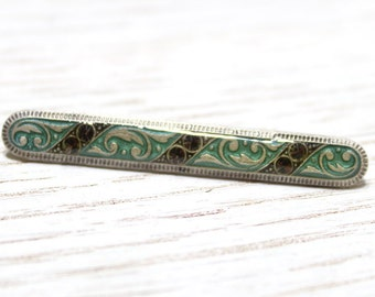 Vintage Floral Pin with Swarovski Crystals and Enamel Finish