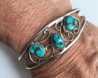 Sterling silver and turquoise Native American Navajo bracelet   VJSE