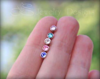 Tiny BIRTHSTONE STUD EARRINGS - 4mm swarovski crystal, silver or gold birthstone stud earrings, tiny stud, bridesmaid earrings jewelry