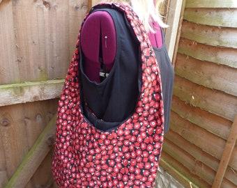 Handmade Shoulder/Beach Bag Cotton Fabric Poppy Print