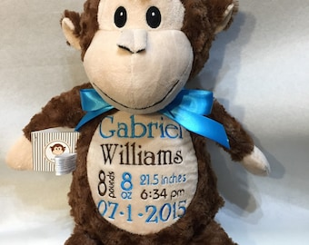 Personalized Monkey, Monkey Cubby, Huggles Monkey, Personalized Cubbies, Birth Announcement, Stuffed Animal Toy