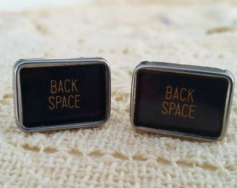 Back Space Cuff Links, Antique Men's Jewelry, Typewriter Key Cufflinks, Vintage Keys, Cuff Links, Mens Suit Accessory, Gift Idea for Man