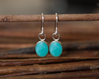 Turquoise Earrings, Turquoise Silver Earrings, Turquoise Drop Earrings, Silver Drop Earrings, Amazonite Earrings, Amazonite Jewellery