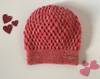 Ready to Ship Handmade crochet puff stitch multi colored pink slouchy beanie hat.