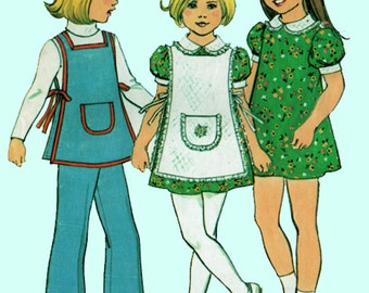Vintage 1970s Girls Mini Dress, Apron and Pants Sewing pattern  Simplicity 7064 Retro 70s Sewing Pattern Size 5 & 6