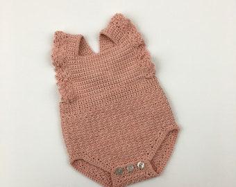 0-3 Month Vintage Pink Sarah Ruffle Romper