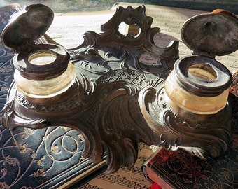 PROMOTION: French Vintage Ornate Desktop Rococo Style footed double inkwell