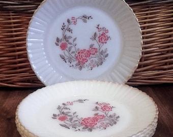 Retro Termocrisa Pretty Red Roses Dinner Plates 1960's Vintage
