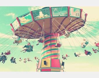 Navy Pier Swing, Carnival, Color Photo, Nursery Art, Vintage Photograph