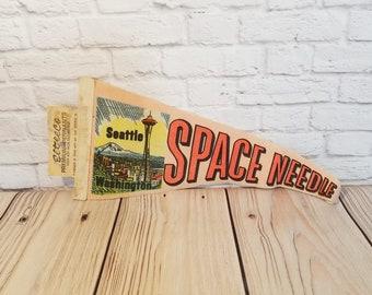 Vintage Space Needle Seattle Felt Souvenir Pennant