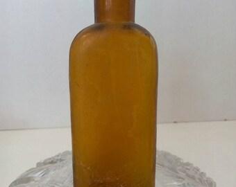 Yellow Amber 1860's medicine Bottle