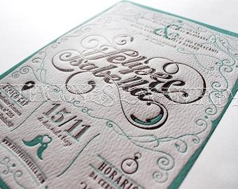 """5x7"""" Letterpress Invitation SET (2 color ink)"""