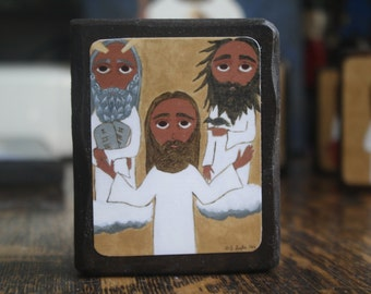 2.5 ish X 3.5 ish inch the Transfiguration byzantine/folk icon on wood