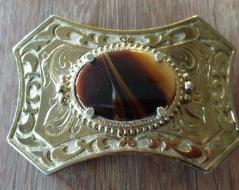 On sale Vintage Gold-tone Belt Buckle with Tiger's Eye.Southwestern,Country Western,Belt Accessory,Cowboy,Western Wear,Square Dance,Rodeo