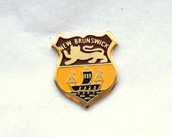 3 Vintage 1960s Enameled Brass New Brunswick Crest Charms // Canadian Souvenir