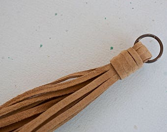 NEW! Taupe Suede Lace Tassel 140 mm Pendant Handmade Accessory - 1 Piece