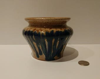 Handmade Wheel Thrown Ceramic Vase Blue Cobalt Drip Pattern on front