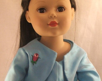 Turquoise Dress and Jacket with embroidered rose for American Doll