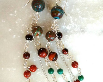 Long silver stones earrings - colorful - Terracotta-sky Blue gemstones -drop earrings, Indian-earth colors - ready-to-ship.