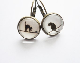 Earring Cat and Mouse Glass