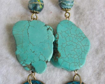 Upcycled Huge Scale Turquoise Freeform and Brutalist Enamel Beads GP* Leverback Pierced Earrings