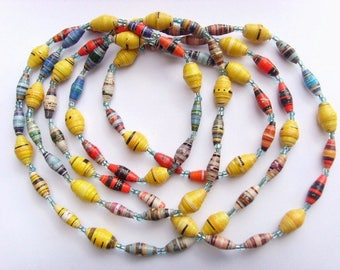 Beaded necklace in recycled paper - yellow, red, blue - nxl03