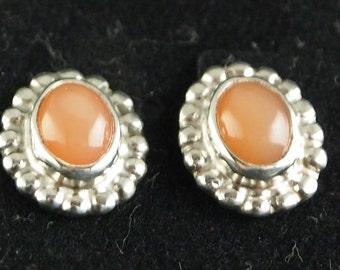 Peach Moonstone Post Earrings in Sterling Silver