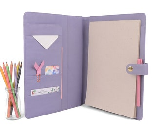 READY TO SHIP! Lavender Stud A4 Leather PadFolio / Portfolio Multiple Pockets, Snap Closure.