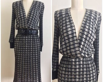 Vintage 70s Just Choon of California Dress | 1970s Black and Grey Knit Dress