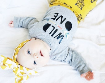 Wild one baby clothes. Arrow baby bodysuit. Modern baby clothes, many colors available.