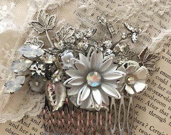 Redesigned vintage jewelry hair comb, OOAK white silver, wedding hair accessory, repurposed, bridal wedding, assemblage, by vintagefrivolity