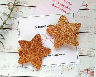 Set of 2 Gold Star hair clips, Gold glitter Star hair clips Free Uk Shipping