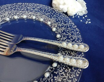 Wedding Forks and Plate Set, Wedding Forks, Wedding Plate, Silver Wedding Plate and Forks, Hand Painted Wedding Plate and Forks -- Set of 3