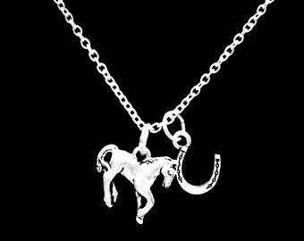 Horse Horseshoe Cowgirl Country Western Ranch Necklace