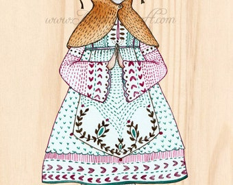 "MarmeeCraft art print, ""Her Autumn Hood"" folk illustration"