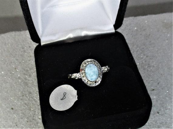 Larimar handmade sterling silver ring size 8