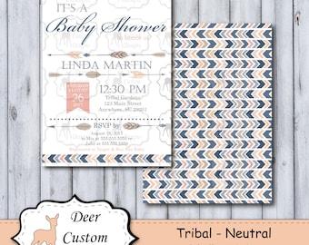 Tribal Baby Shower Invitation | Tribal Baby Shower Invite | Aztec Feather Baby Shower | Arrows Boho Oh Baby Little Chief Tribal Baby Shower