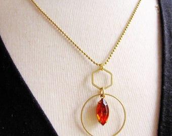 Geometric Circle Necklace, Burnt Orange Glass, Long, Modern, Hexagon, Brass Ball Chain, Geometric Jewelry, Long Necklace, Redpeonycreations