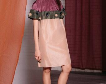 Maarimaia Gathered Neck Silk Mini Dress Beige | Cap Sleeve | Geometric Sleeve | Shift dress | Colour block | Embellished dress  | 3d flower