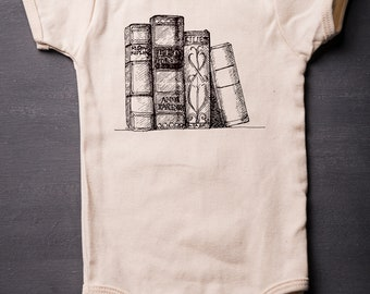 Baby Bodysuit - Nautical Organic Baby One Piece - Screen Printed Baby Clothes - Books - Librarian - Infant One Piece