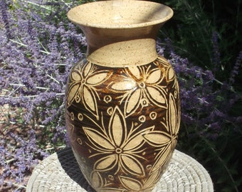 SALE Vase with Beautiful Hand Carved Design - Visit shop for more handmade pottery