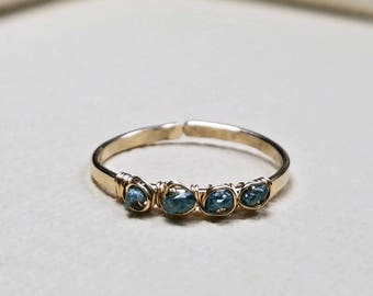 Raw Blue Diamond Ring, Rough Diamond Ring, Wire Diamond Ring, Conflict Free: Delicate, Not For Every Day Use