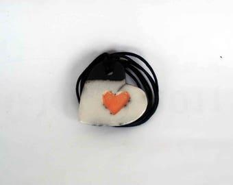 Raku Ceramic Heart - jewels in raku - europeanstreetteam