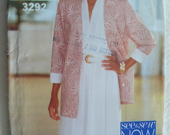 Women's Jacket and Dress Pattern - Vintage See & Sew 3292, Size 12-16