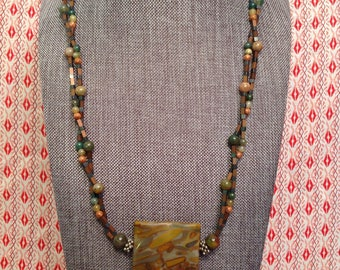 Natural gemstone and antiqued copper beaded necklace with a Rainforest Jasper focal