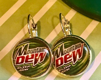 Mountain Dew cabachon earrings - 16mm